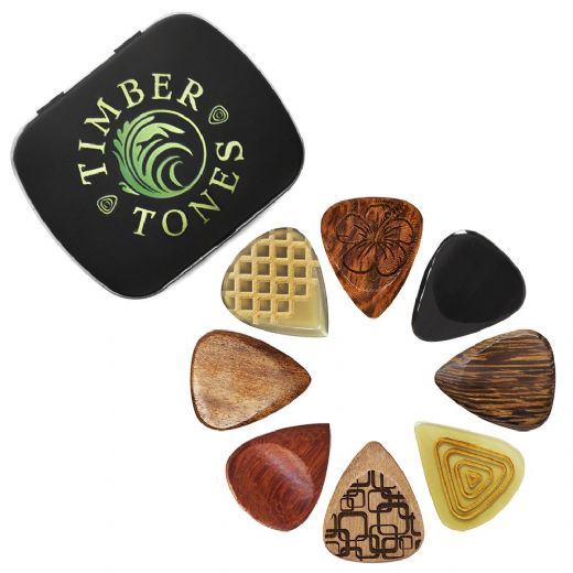 Timber Tones Luxury Acoustic Guitar Tin of 8 Picks